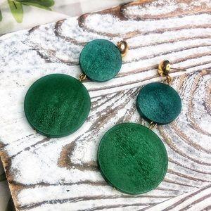 Handcrafted Bohemian Wooden Green Earrings